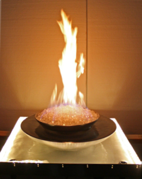 custom metal water fire feature with fireglass