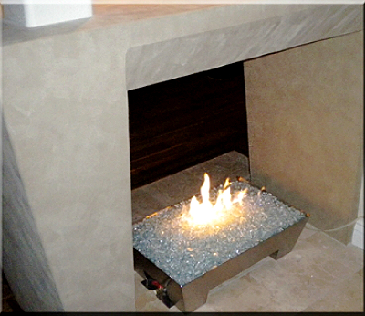 custom fireplace fireglass pan