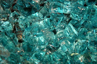 chunky blue green fire glass