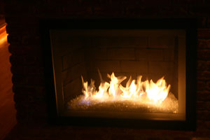 flames from a fireglass fireplace