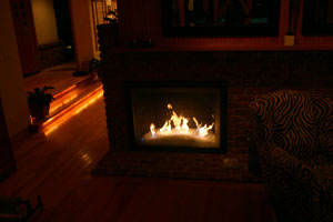 fire sample in firetglass fireplace