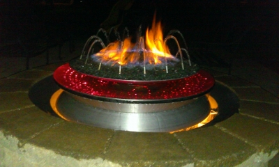 custom fire and water outdoor feature