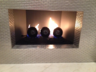 Large Black Fireplace Fire Balls