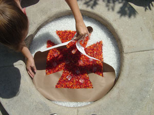 using fireglass for fire pit