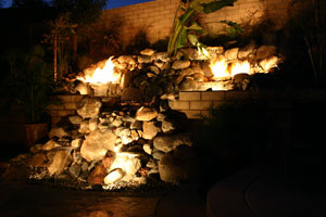 outdoor custom fire and water waterfall fountain 18
