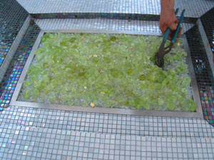 green fireglass for a custom fire pit