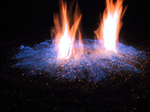 Blue flame fire pit
