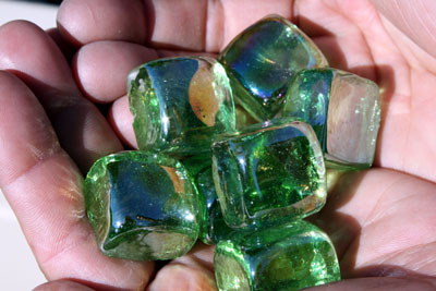 aqua green glass cubes 3