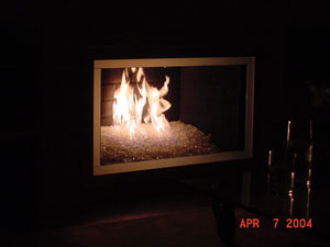 Glass rock fireplace