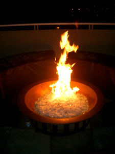 fire bowl with fire glass crystals