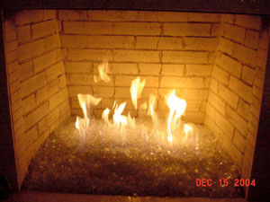 gas fire glass