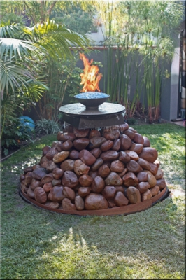 Custom fire fountian feature with fireglass