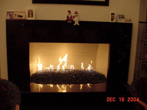 fire glass fireplace with fire glass stones