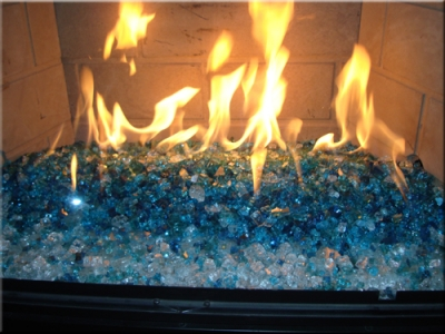 V Blue Fireglass For Outdoor And Indoor Fire Features
