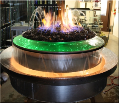 Custom fire and water features designed with fireglass and LED lights