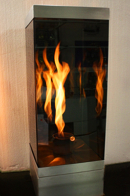 reflective glass fire feature vortexed 55