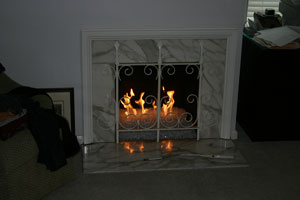 custom fireplace with glass stones