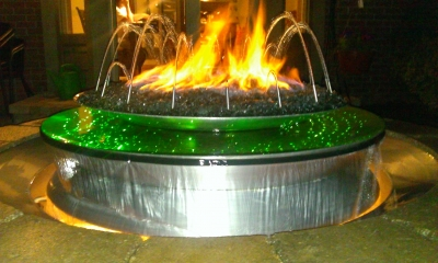 custom water and fire outdoor feature